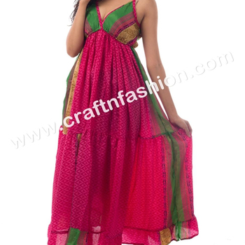 Indian Fusion Designer Summer Wear Party Wear Poly Silk Maxi Dress -Indo Western Fashionable Long Dress