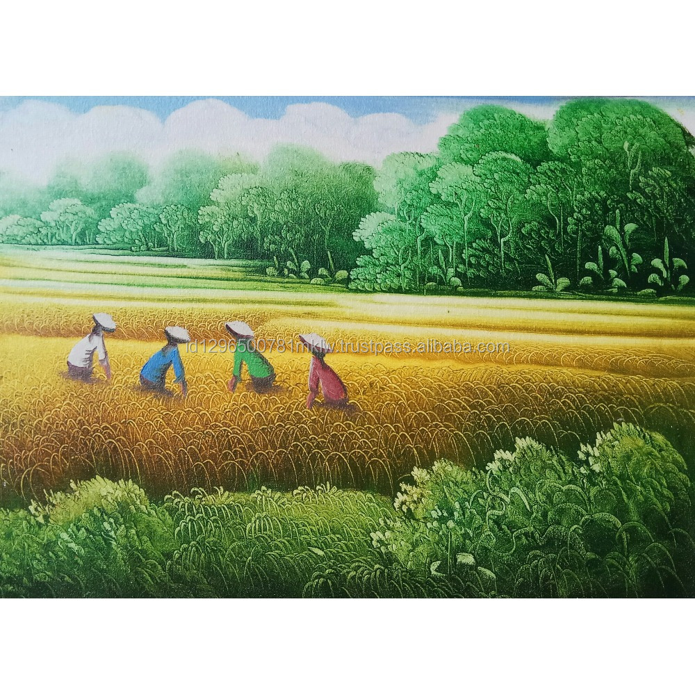 Modern Wall Art Home Decoration Best Selling Handmade Original Rice Field Harvest Oil Painting