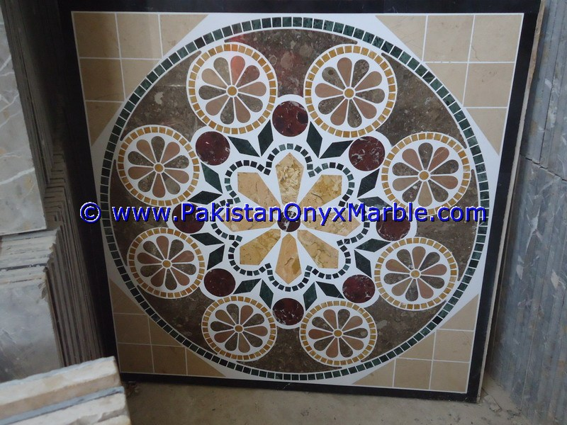DECORATIVE MARBLE TILES MEDALLIONS FLOOR TILE CUSTOM MADE MEDALLIONS BLACK WHITE RED BEIGE