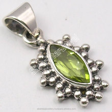 925 Solid Silver Classic MARQUISE PERIDOT WELL MADE OXIDIZED Pendant Lockets 2.4 CM NEW