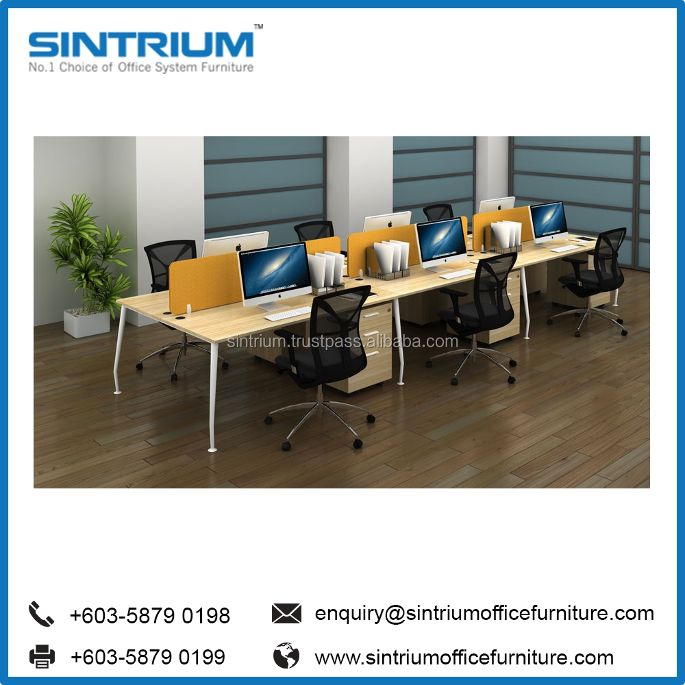 Modern Office Desk Furniture Workstation For 6 Person made in Malaysia Manufacture