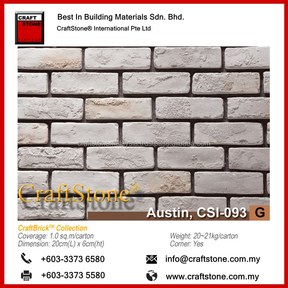 Old Used Bricks natural colors and profile that looks more real than actual bricks, Exterior Decoration Wall Brick Slate