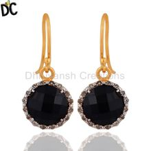 Black Onyx and Pave Diamond Drop Earrings Gold Plated Silver Earring Jewelry Manufacturer