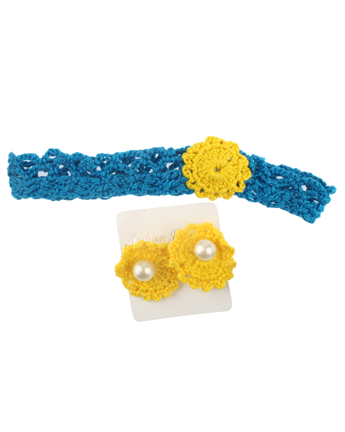 Blue and yellow Crochet Jewelry Set for Women