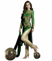 Women's Semi-Stitched Green Colour Awesome Salwar Kameez / Party Wear Indian Ethnic Dress Material (salwar kameez Suits)