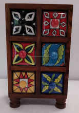 Natural finish hand painted 6 drawer wooden ceramic spices box