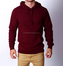 oem high quality pullover 100% cotton black with red sleeves custom men plain hoodies kangaroo pocket