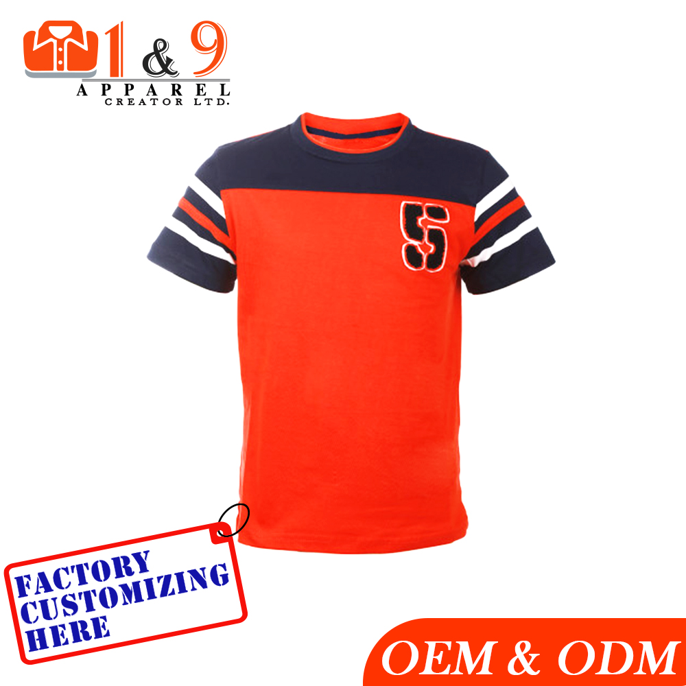 Newest design color blocked t shirt for sports round neck custom design apparel