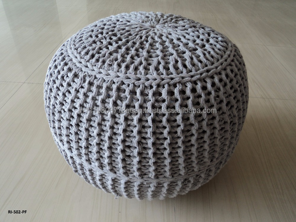 New 100% Cotton Round Knitted Pouf Gray Color