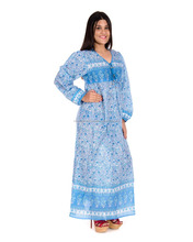 India karni new latest blue floral printed vintage Maxi Dress print Indian cotton printed maxi dress Dresses for women's & girls