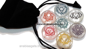 Chakra Engraved Crystal Color Disc set with velvet purse Wholesaler Manufacturer