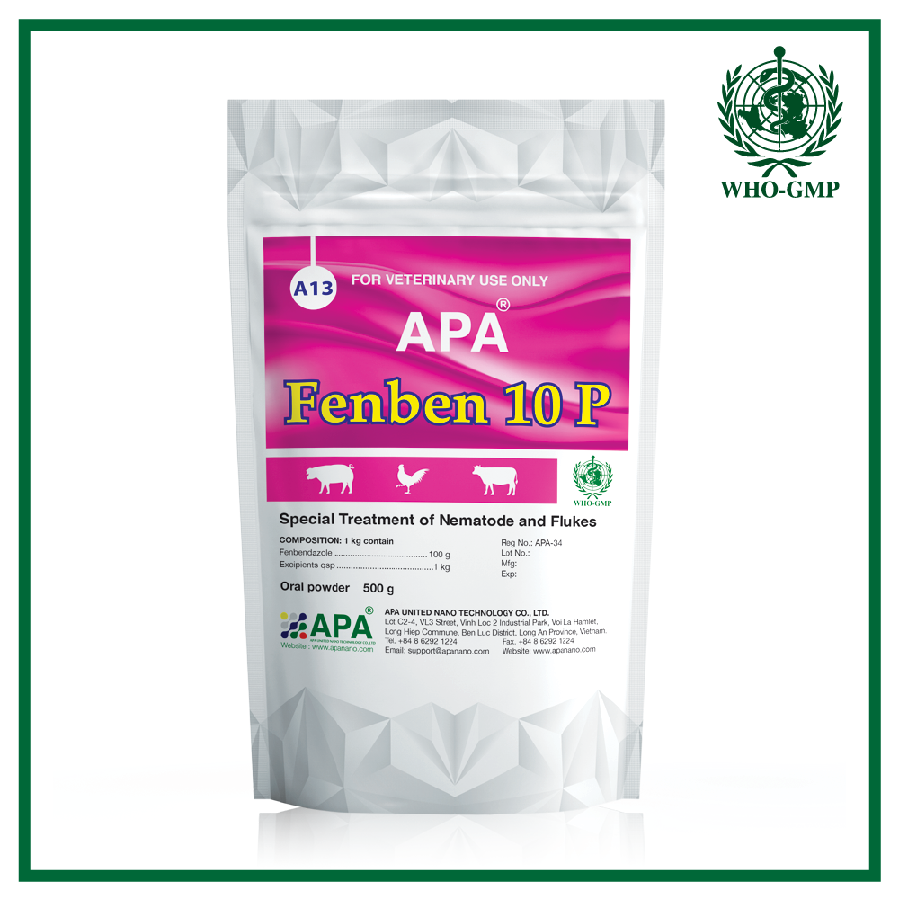 APA Fenben 10 P | GMP Manufacturer Veterinary Medicine [ Broiler Medicine with Fenbendazole Powder ]