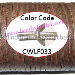 Leather Cords 2.5mm flat, metallic color - steel grey. Weight: 550 grams. CWLF25033