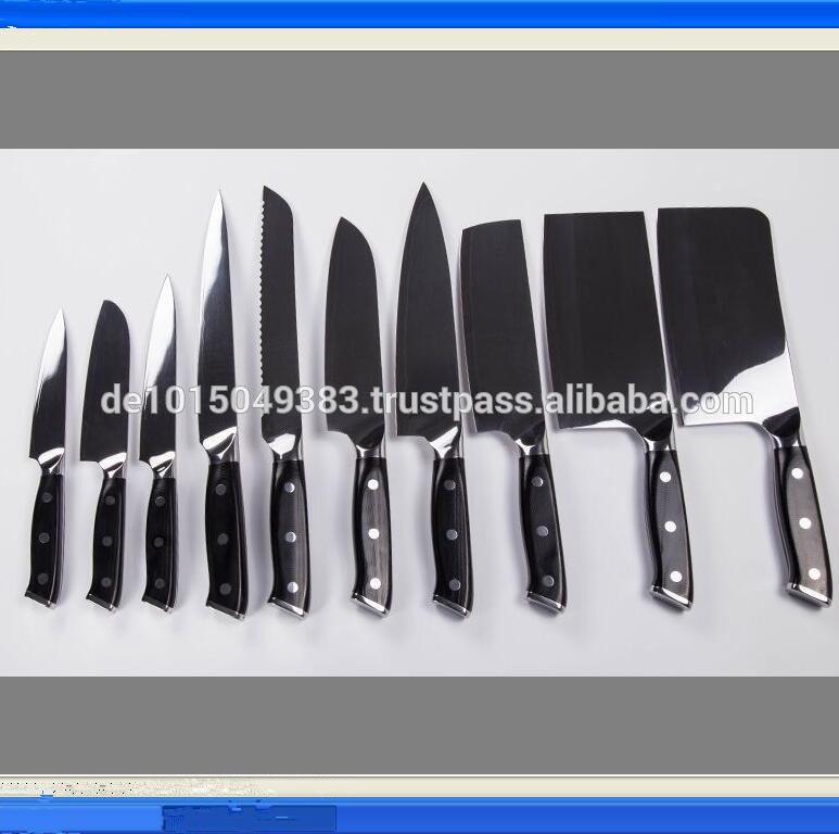 set of 10 pcs cutlery set & kitchen knives set Mirror ABS handle