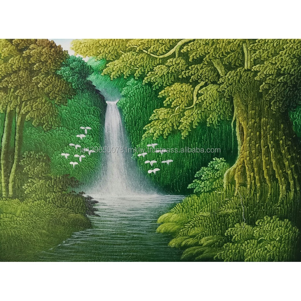 Hotel Decor Best Selling Wall Art Decorative Handmade Abstract Waterfall Oil Painting