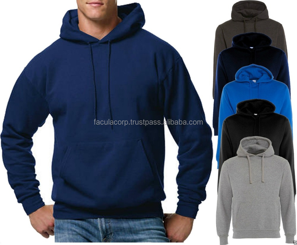 Mens Boys Plain Design Contrast Hoodies Sweatshirt Hooded Pullover Without Zip FC-14923