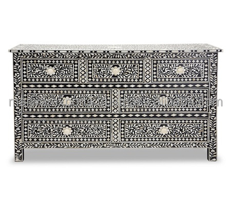 Moroccan Floral Design Bone Inlay Chest of Drawer