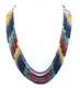 Natural Emerald,Ruby,Sapphire 7 Strand beads Necklace with 925 Silver Claps 23""