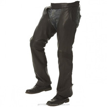 Men Premium Black Leather Motorcycle Chaps with Stretch Panel on Knees
