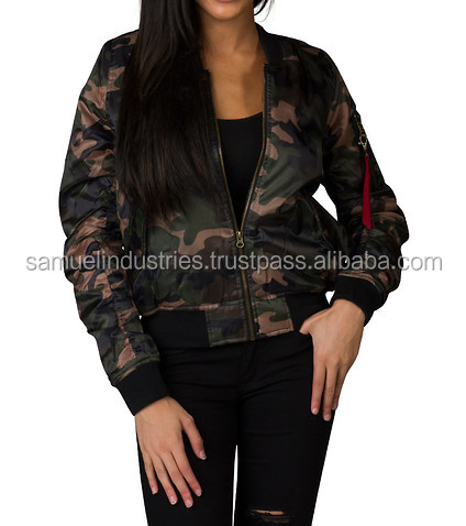 Ladies Bomber Jacket In Camouflage Fabric Camo Print Collar Bomber Jacket WOMENS CAMO ZIP FRONT BOMBER JACKET