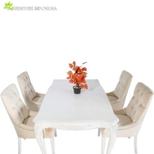 Dining Room Set Furniture Modern Jepara with Fabric Upholestery Mahogany indonesia furniture