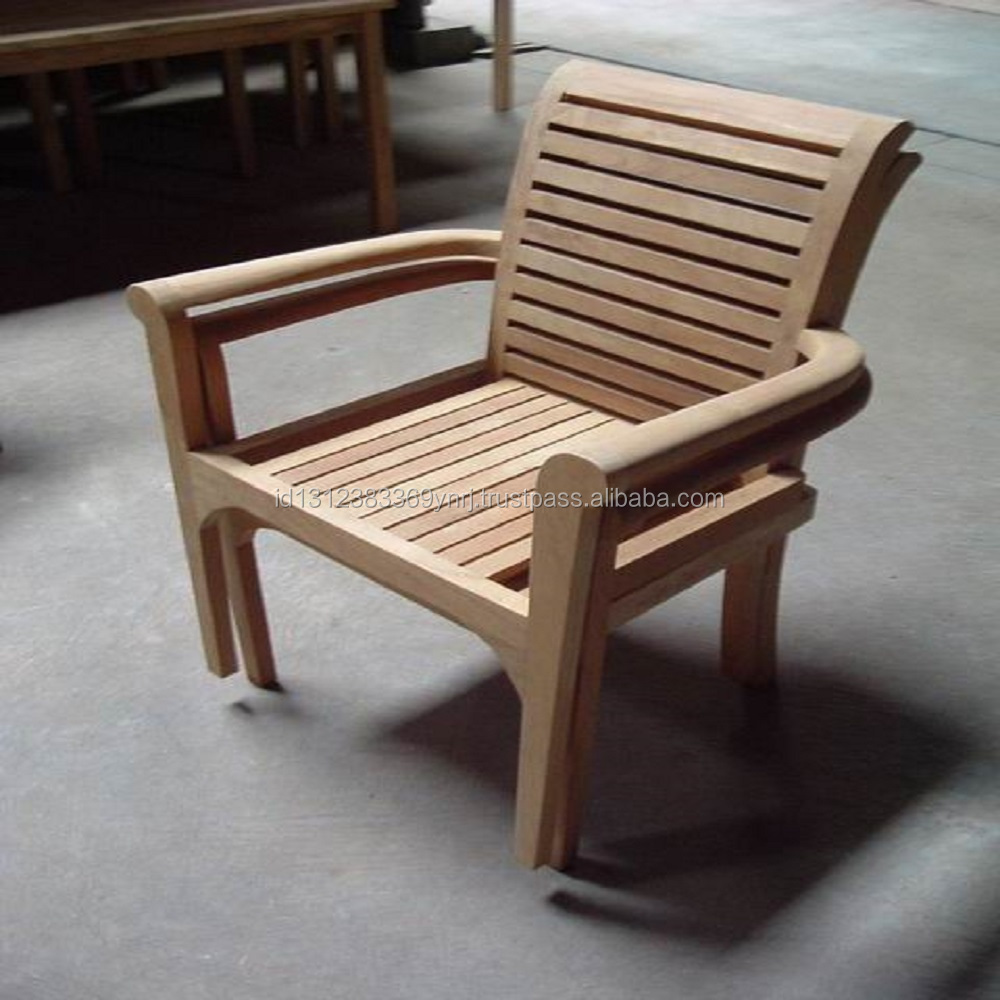 Top Quality New Stacking Chair Teak Wood Material Garden Outdoor furniture Made in Indonesia