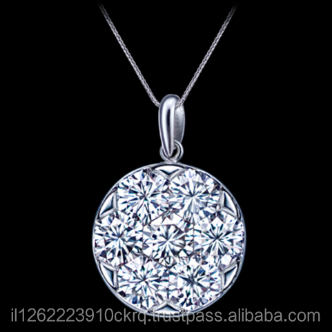 18k White Gold Diamond Pendant Set Invisibly Together To Create The Appearance Of a Single Large Diamond Total 0.82 Carat