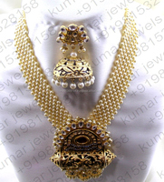 Big Pendant Look Pearl Beaded Kundan Stone Ruby Oxidized CZ Gold Plated Heavy Temple Style Indian Traditional Necklace Set