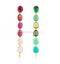 Egg Shape Multi Gemstone Rain Drop long Earring For Party or Anniversary seasonable Earring