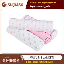 Super Soft Organic 100% Cotton Wholesale Muslin Blankets from Reputed Dealer