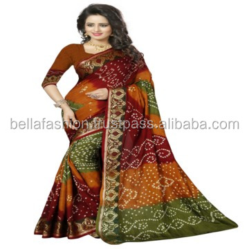Latest Indian Beautiful Color Traditional Looking Printed Bandhej Worked Designer Bandhani Sarees