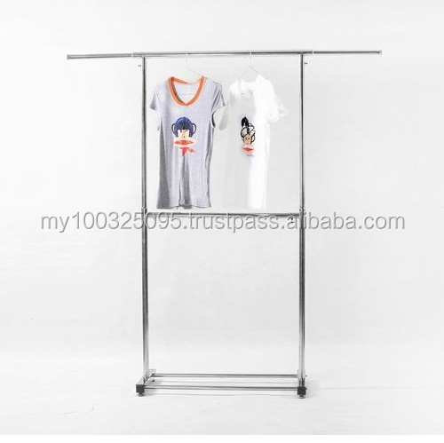 High Quality Stainless Steel Single Bar Double Layer Garment Rack