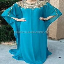 Women's Designer Beaded Kaftan Abaya/Indian Dubai Embroidery Chiffon Kaftan dress