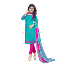 Sky Blue Cotton Daily Wear Printed Churidar Style