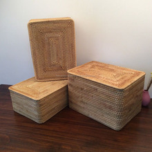 Rattan storage box Large laundry storage basket with lid