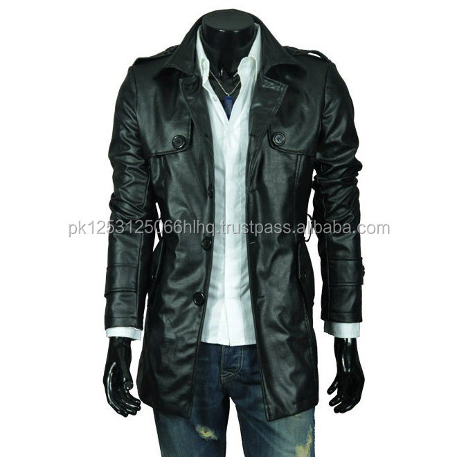 Leather Fashion Coat/ 2017 stylish coat for gents