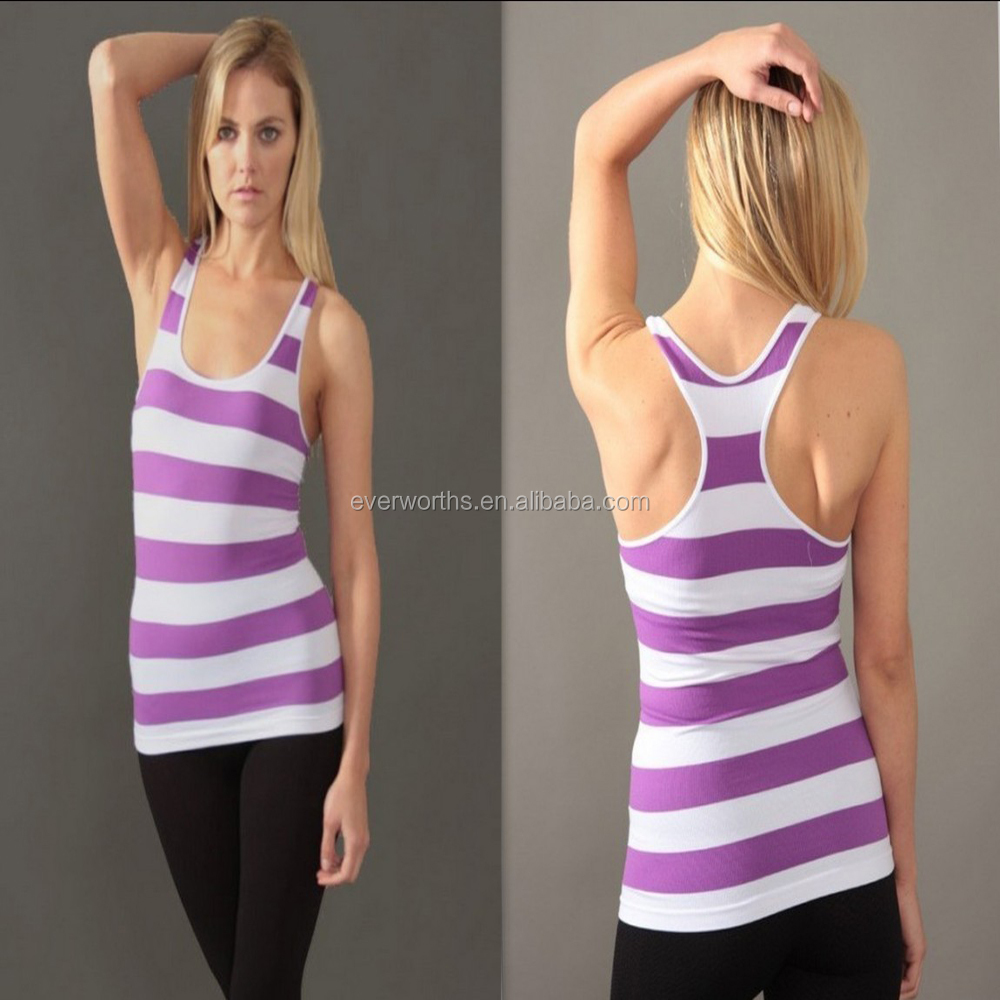 Fashion striped scoopneck seamless tank top for women