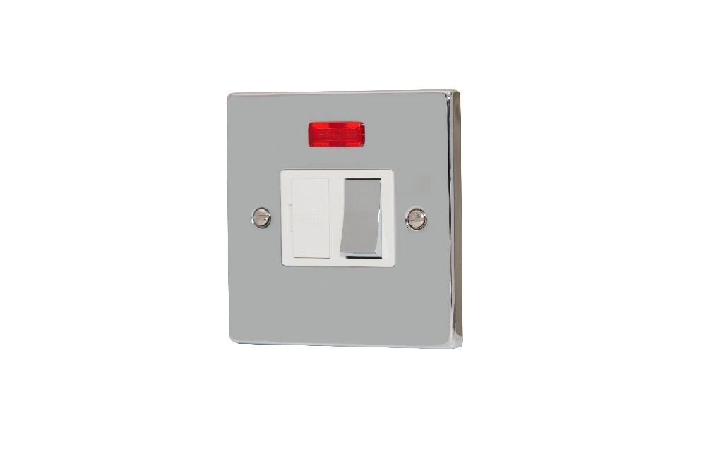 Sinoe B419BMF Polished Chrome BS Certified 13A Switched Fused Connection Unit with Neon on/off Indicator (12 Year Guarantee)