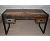 Indian Industrial Antique Metal Wood Office Work Desk Table Furniture