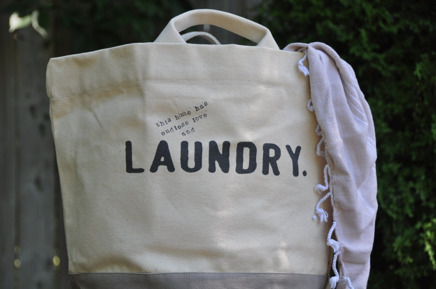 Sturdy large cotton dirty clothes personalized laundry hamper bag