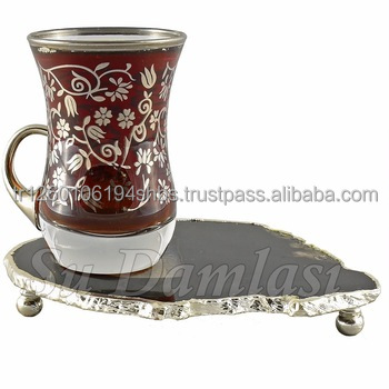 Hajar Tea Cup 70 ml, Coaster, Tea Glass and Saucer, Gold, Silver, Turkish Tea, Arabic Tea Sets, Luxury, Wholesale
