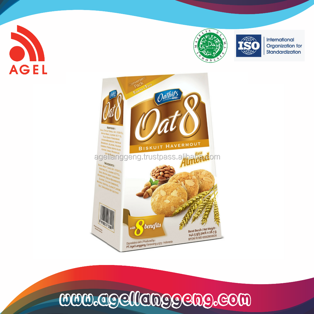 Premium healthy Biscuit Made From oat with special Almond Flavour on simple box Packaging