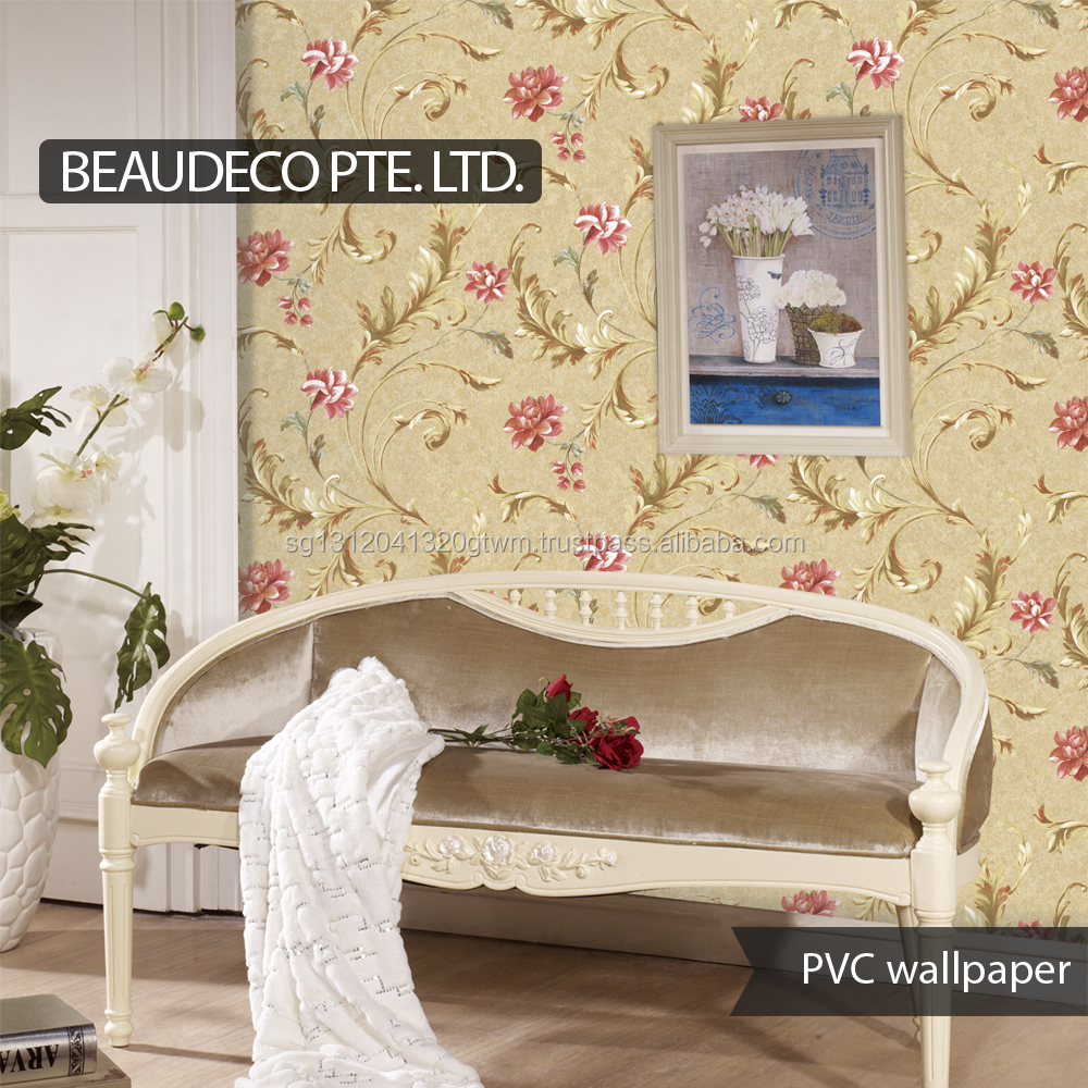 beautiful flowers damask decorative plastic wallpaper factory suppliers china