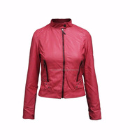 Fashion Gold Zip Quilt Padded Soft Real Leather Jacket