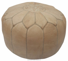 moroccan natural leather pouf handmade ottoman footstool pouffe wholesaler