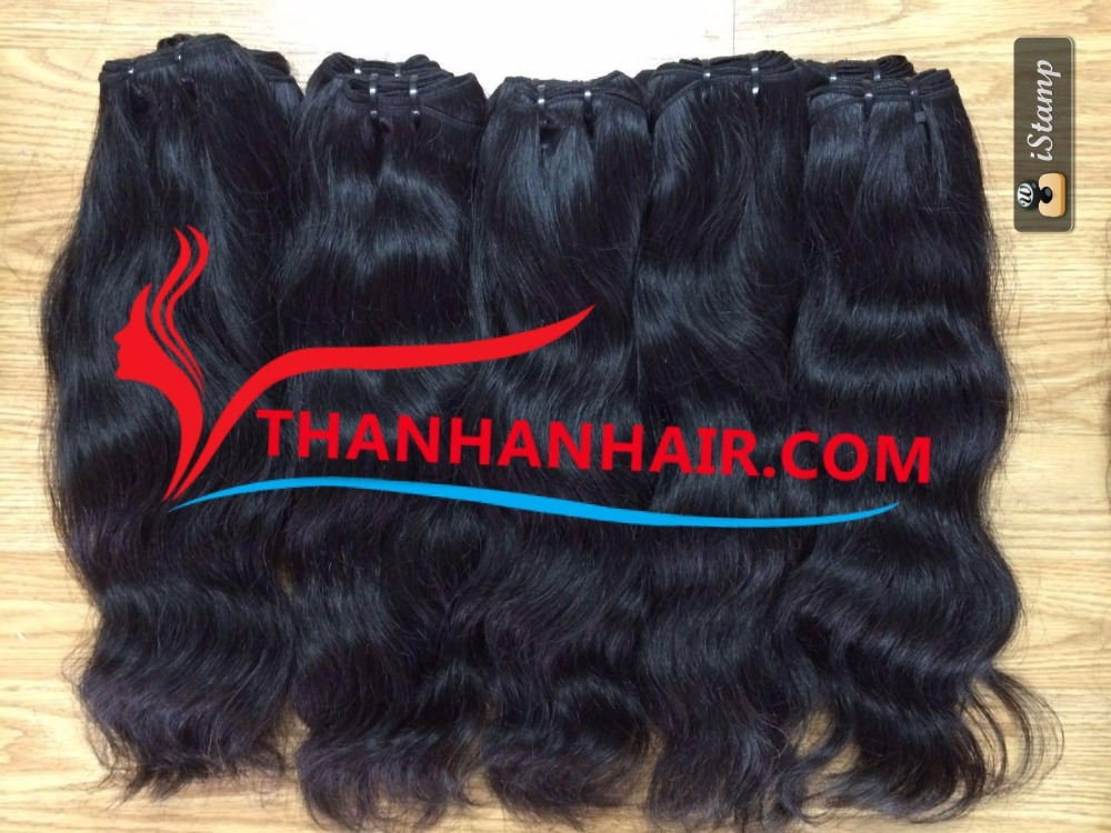 Top 100% unprocessed human hair natural wavy hair weft
