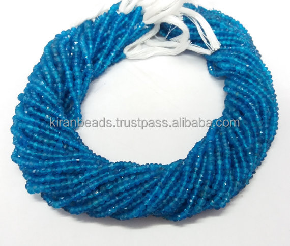 Natural Neon Apatite Micro Faceted Rondelle Beads - Beads Measure About 3-4mm 13.5 Inch Long Strand