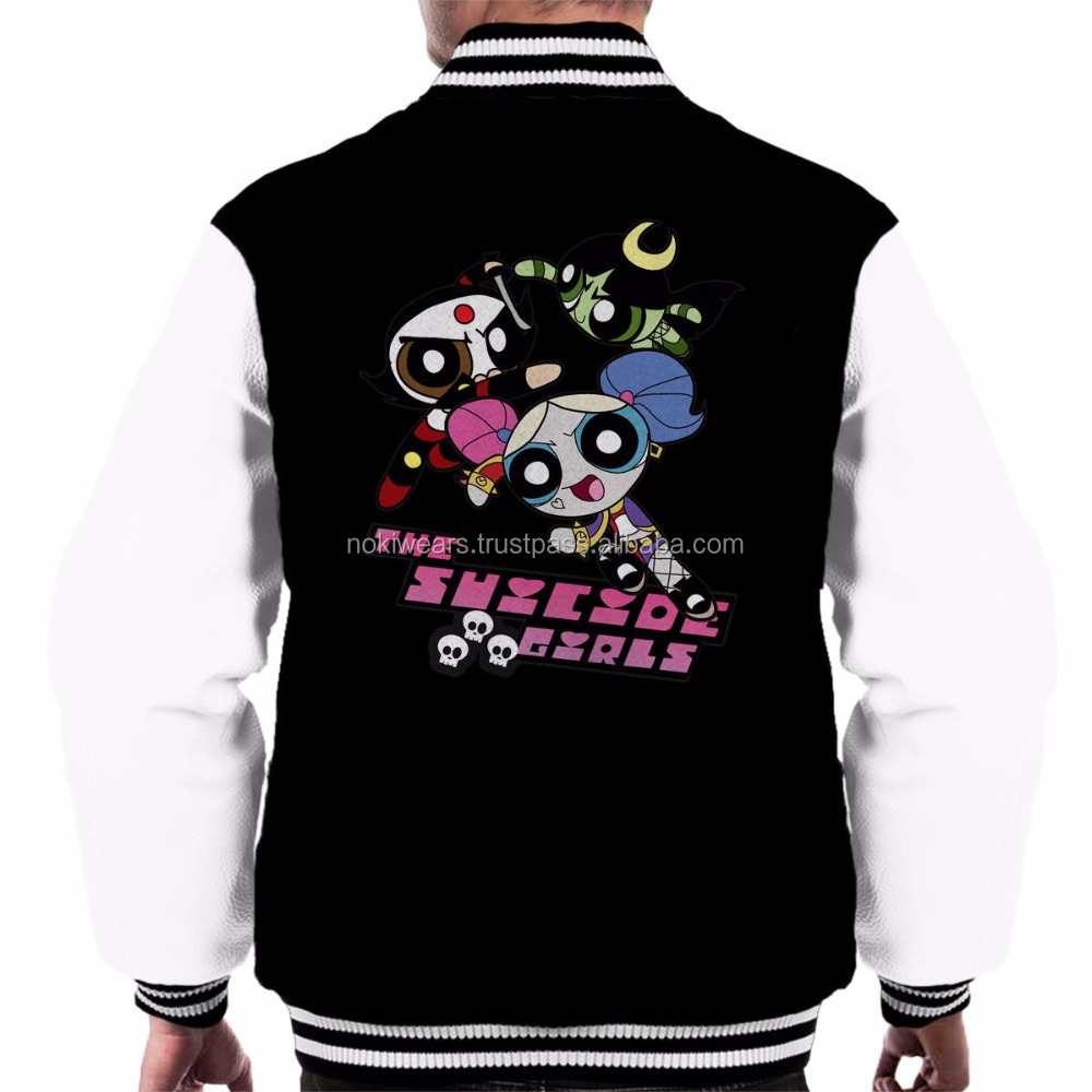 2018 cheap back printed cartoon fan varsity jackets for girls/custom varsity jackets/NWSJ-1053/AT NOKI