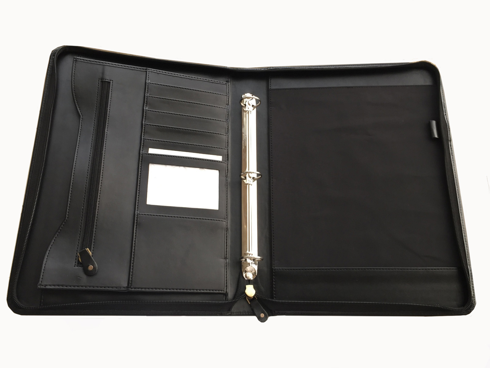 A4 zip closure leather ring binder cover / Leather portfolio and Organizer/Ring binders
