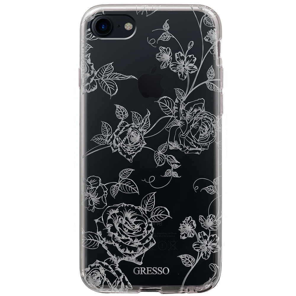 2017 New Clear TPU Wallet Case for iPhone 8 7 6s 6 Plus with Silver Roses Flowers Printing Wholesale OEM